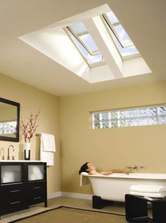 Gorgeous Velux windows in bathroom.