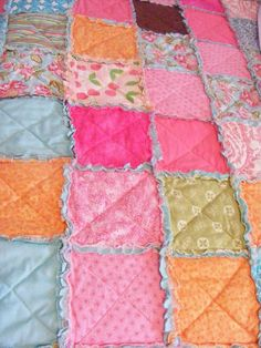 Easy, Thrifty, Pretty Rag Quilt - variations on the theme - use recieving blankets for baby quilt, use flannel for middle instead of quilt batting, use flannel in coordinating color to make square colors pop. Gotta' try this one!