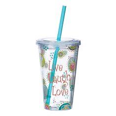 'Live Laugh Love' Tumbler W/Straw.