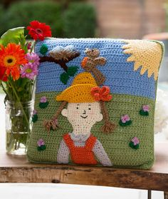 Spring Has Sprung ..This is a great pillow and there is a free crochet pattern!
