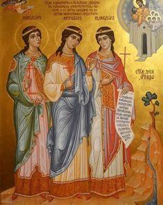 Menodora, Metrodora, and Nymphodora the Righteous Virgin Martyrs Byzantine Icons, Byzantine Art, Religious Icons, Religious Art, Biblical Art, Best Icons, Orthodox Christianity, Icon Collection, Catholic Saints