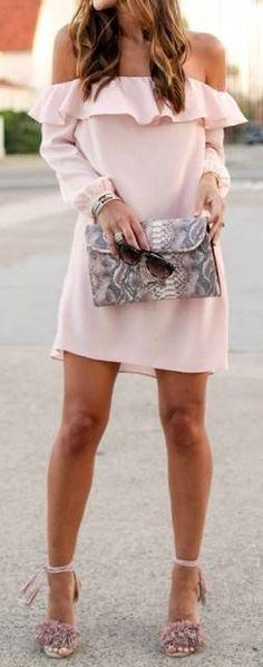 Pretty soft pink off the shoulder dress
