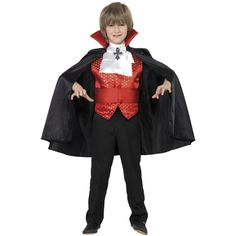 Dracula Boy Costume, Red and Black. http://www.novelties-direct.co.uk/Dracula-Boy-Costume-With-Cape-Cummerbund-Cravat-and-Waistcoat.html