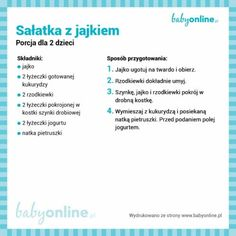 Sałatka z jajkiem Baby Food Recipes, Healthy Recipes, Kids Meals, Good Food, Tasty, Fitness, Cooking, Wellness, Gastronomia