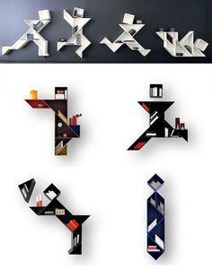 'tangram shelving' in different configurations by designer daniele lago