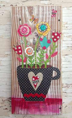 Mixed Media Floral Wall Art Mothers Day by evesjulia12 on Etsy