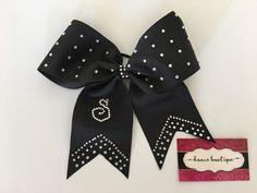 Black custom Monogram Swartzvoski Crystal Hair Bow