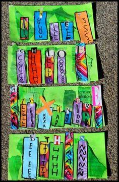 prénom# maternelle#. Un fond coloré (papier soie collé, encre par dessus, ici en…