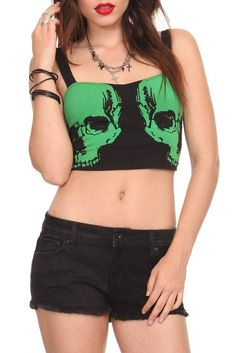 Teenage Runaway Green Skull Longline Bra | Hot Topic