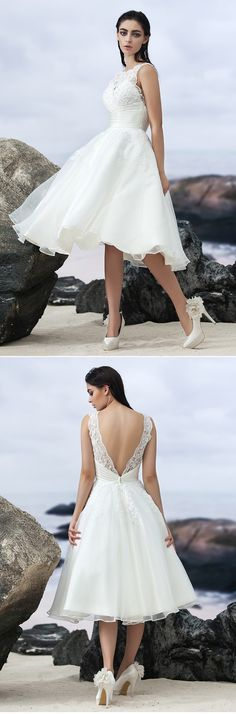 """Such a gorgeous wedding dress for a beach wedding <3 Simply loving the details and its open back. Would this be the one for your big day? Click for more detailsremember to use coupon code """"PTL10901"""" for an extra discount when you spend $50+"""