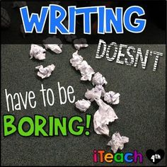 iTeach Fourth: Grade Teaching Resources: Writing Doesn't Have to Be Boring! Writing Mini Lessons, Teaching Writing, Writing Activities, Writing Tips, Writing Prompts, School Resources, Teaching Resources, Teaching Ideas, 6th Grade Writing