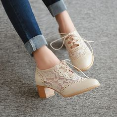 New Womens Lace Up Pointy Toe Chunky Block Mid Heels Mesh Cut Out Oxford Shoes #womensheels