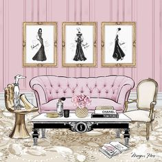 My imaginary pink room for the cover of ELLE Decoration - the pooch owns the room!