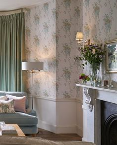 Wisteria Duck Egg/ Pistachio Floral Wallpaper by Laura Ashley Laura Ashley Living Room, Vintage Floral Wallpapers, Wisteria, Shabby Chic Decor, Country Decor, Family Room, New Homes, Room Decor, Wallpaper Patterns
