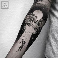 Alien abtuction tattoo. Forearm tattoo