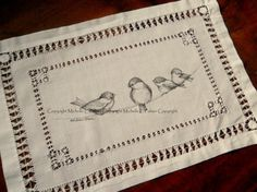 Original Pen and Ink Illustration on Antique Vintage Embroidery Linen Michelle Palmer Chickadee Family Birds on a wire