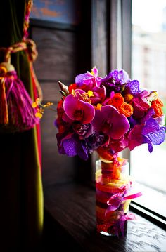colorful orchid bridal bouquet by kio