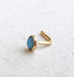 Nose stud  Nose ring 14k solid gold nose ring opal by OritNaar, $40.00