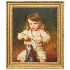 A Portrait of a Young Child on a Rocking Horse by Carl Wilhem Friedrick Bauerle | From a unique collection of antique and modern paintings at http://www.1stdibs.com/furniture/wall-decorations/paintings/