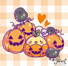 Teabird pumpkin for Halloween season 💖🎃🍁 . Anime Halloween, Kawaii Halloween, Halloween Ii, Halloween Season, Halloween Pumpkins, Chibi Cat, Kawaii Chibi, Kawaii Art, Kawaii Anime