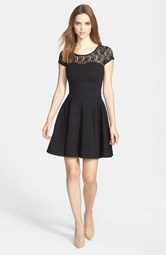 FELICITY & COCO Lace Yoke Fit & Flare Ponte Dress (Nordstrom Exclusive) available at #Nordstrom