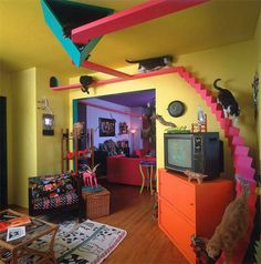 These 8 Elaborate Cat Playgrounds Would Turn Your Home Into a Kitty Wonderland - Scribol.com Hopefully this keeps my kitties from destroying so many rolls of toilet paper. http://lsa.io/FqivfG Image: Bob Walker/The Cats House Basic cat furniture and scratching posts are all well and good but a handful of crazy cat lovers have gone the extra mile by building hugely elaborate indoor playgrounds for their prized pets. Complete with the likes of snaking tunnels a spiral slide-cum-walkway