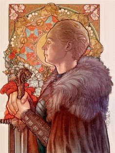 Another art nouveau piece, this time with Brienne. Always loved the mucha-side face pieces the most and wanted to try one for my AN studies. Removed Jamie's ghost hand from the sketch, it didn't work. Dessin Game Of Thrones, Arte Game Of Thrones, Game Of Thrones Artwork, Jaime And Brienne, Jaime Lannister, Game Of Thrones Illustrations, Book Illustrations, Art Nouveau, Brienne Of Tarth