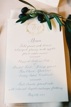 menu | @Molly Simon Simon Jacques calligraphy | Rylee Hitchner Photography via @Jena McClendon Kittie Wed