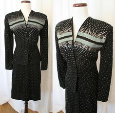 """1940s Two-Tone Wool Gabardine Suit with Silver Studs by """"Hunecks San Diego"""""""