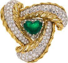 Estate Jewelry:Brooches - Pins, Emerald, Diamond, Gold Brooch. ...
