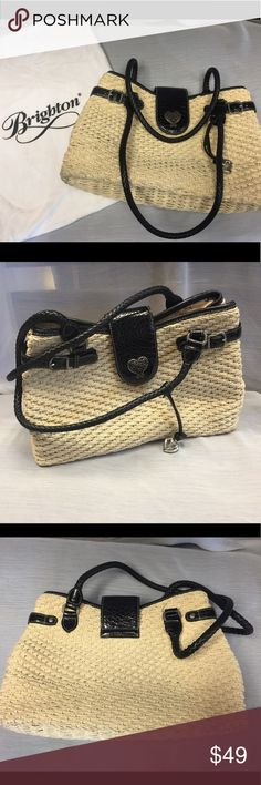 Brighton Purse Straw purse with leather straps. Can be carried by the handles or over the shoulder. Brighton Bags Shoulder Bags