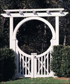 Moon gate with arbor.