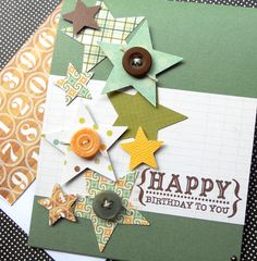 Masculine Birthday Card with Matching Embellished Envelope - Falling Stars