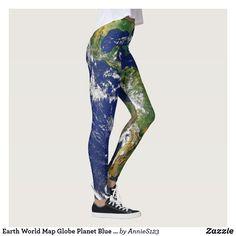 70d7329fc980e Earth World Map Globe Planet Blue Green Modern Leggings Cute Leggings, Best  Leggings, Girls
