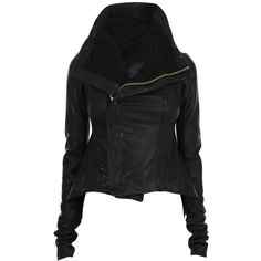 RICK OWENS Leather Tails Asymmetric Zip Jacket ($1,090) ❤ liked on Polyvore featuring outerwear, jackets, coats & jackets, coats, women, zipper leather jacket, 100 leather jacket, asymmetrical zip jacket, zip jacket and zipper jacket