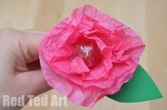 Tissue Paper Flower Lollipops - Red Ted Art - Make crafting with kids easy & fun Holiday Crafts For Kids, Easy Crafts For Kids, Craft Activities For Kids, Valentine Day Crafts, Valentines, Craft Ideas, Tissue Paper Crafts, Tissue Paper Flowers, Candy Flowers