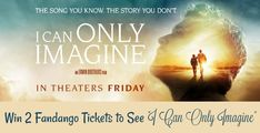 This great giveaway is hosted by Mommy's Playbook & Sponsored By Propeller Consulting, LLC MercyMe's I Can Only Imagine is the most popular contemporary Christian song in history. While it is impossible to think of anyone who hasn't heard the song, very few actually knew what inspired Bart Millard from MercyMe to write it. The film is the story of how Millard wrote the song after overcoming an abusive childhood, holding to his faith, and seeing God's miracle of redemption.