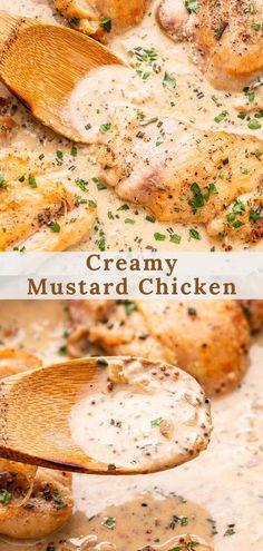 This easy Creamy Mustard Chicken tastes so decadent and it's all made in one skillet! Juicy pan seared chicken thighs in a rich sauce made of Dijon, white wine, fresh herbs and a touch of cream. It's a quick weeknight dinner, but fancy enough for special occasions! #chicken #mustardchicken #chickenrecipes #onepanmeal #weeknightdiinner #creamychicken #mustard #lowcarb