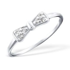 Tie bow - 925 Sterling Silver Cubic Zirconia Rings