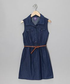 Take a look at this Indigo Denim Button-Up Dress by BeBop on #zulily today!