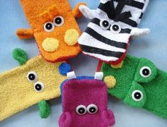 Wash Cloth Hand Puppets | YouCanMakeThis.com