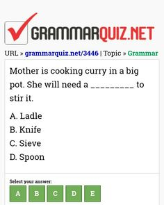 Mother is cooking curry in a big pot. English Grammar Quiz, English Grammar Exercises, English Quiz, English Course, Learn English, English Teaching Materials, Teaching English, Quiz With Answers, Advanced Vocabulary