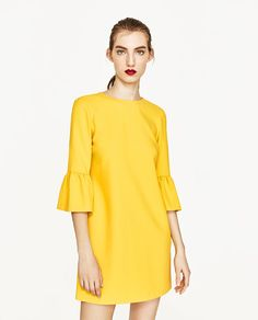 DRESS WITH FRILLED SLEEVES - Available in more colours