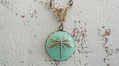 Dragonfly Necklace Turquoise Czech Glass Pendant Blue Gold Bohemian Glass Button…