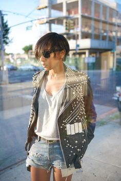 Karen in a killer studded leather jacket #style #fashion #wheredidugetthat