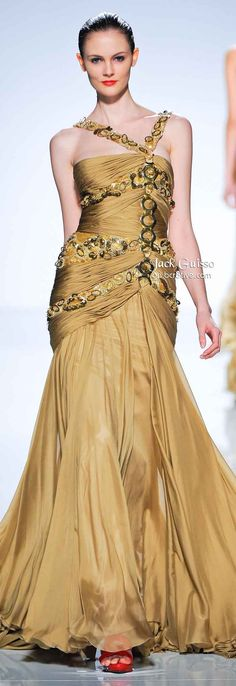 White and Gold Wedding. Gold Bridesmaid Dress. Elegant and Glamorous. Jack Guisso Spring 2011 Couture