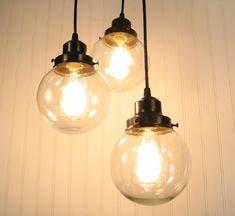 Biddeford III  Clear CHANDELIER Trio Light by LampGoods on Etsy, $190.00