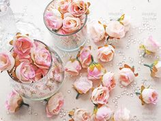 Light Pink Rose Bud Decorative Synthetic Flowers (Faux Silk) Mini Rose Buds…