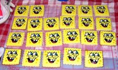 Sponge Bob Cookies - I did these cookies for my daugthers birthday in March. 20 cookies with yellow mm fondant and glaze icing. I used my KK projector to trace in icing then filled in. It took a longggg time to do these.