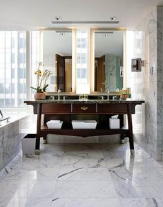 hotel bathroom Shop domino for the top brands in home decor and be inspired by celebrity homes and famous interior designers. domino is your guide to living with style. Luxury Bathroom Vanities, Hotel Bathroom Design, Gray Bathroom Decor, Bathroom Styling, Bathroom Interior, Bathroom Accessories, Bathroom Designs, Bath Design, Bathroom Ideas